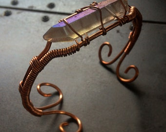 Woven Copper and Crystal Bangle - Copper Bracelet - Copper Bangle - Copper and Quartz Statement Bracelet