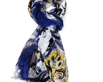 Beautiful Painted  Flowers Scarf