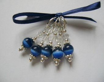 Midnight Cats Eye Stitch Markers for Knitting or Crochet