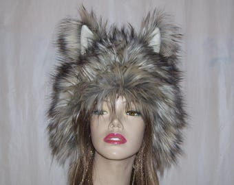 Furry Wolf Hat Ears Gray White Brown Really Real Wolf-like Fur Warm Winter Adult Fetish Geek Christmas Gift Hat Furries Costume