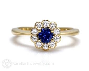 Blue Sapphire Engagement Ring 14K Sapphire Ring Diamond Halo Gold or Palladium Custom Wedding Ring
