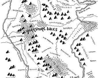 The Yorkshire Dales National Park - Bespoke Hand-Drawn Map