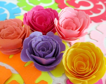 Rolled Flowers Rolled Roses DIY Crafting Kit 12 Flowers Cut Flower Kit Card Making Paper Flowers Scrapbook Embellishment Wreath Flowers