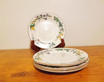 Vintage Woodhill by Citation set of 4 salad plates with floral rims and brown trims