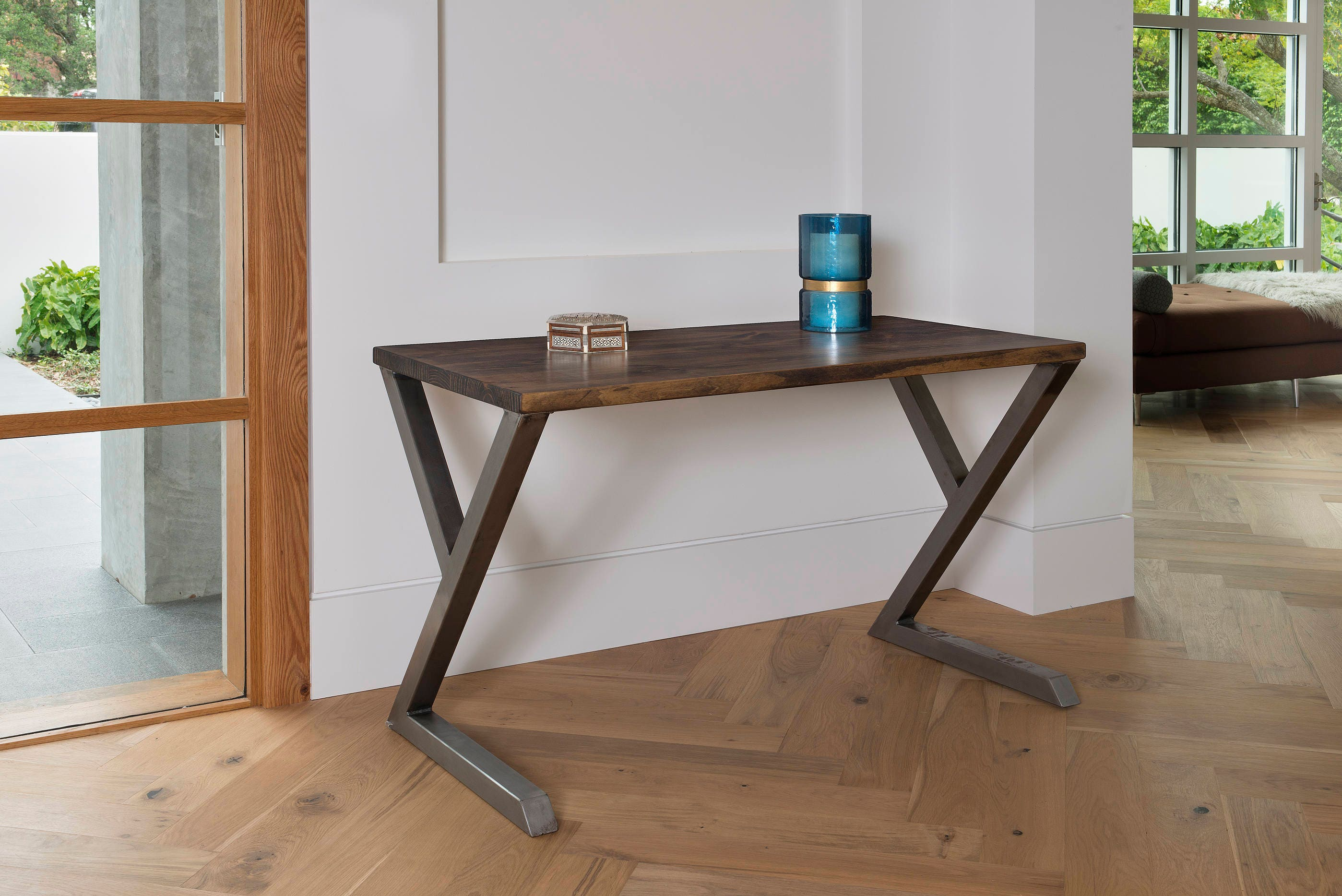 s beautiful angled dark example his made trademark desk legs stain of a oak ma pin features darcey com the from wood design padwick