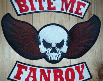 Bite me fanboy set patches embroidered. 3 psc. Cosplay patch