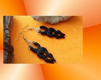 Earrings Tibetan tribal Brown wood and stainless steel