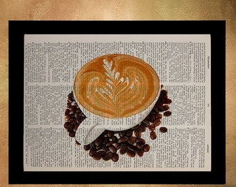 SALE--ship June 25-- Coffee Dictionary Art Print, latte heart cappuccino Decor Cup Drink Food Art Kitchen Art Wall Gift Ideas da1006