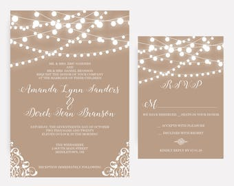 Wedding invitations etsy ca rustic country string lights burlap lace wedding invitations romantic invites stopboris Choice Image