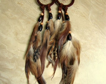 Owl Dream Catcher - Dark Brown Feathered and Beaded Dream Catcher, Feather Dreamcatcher