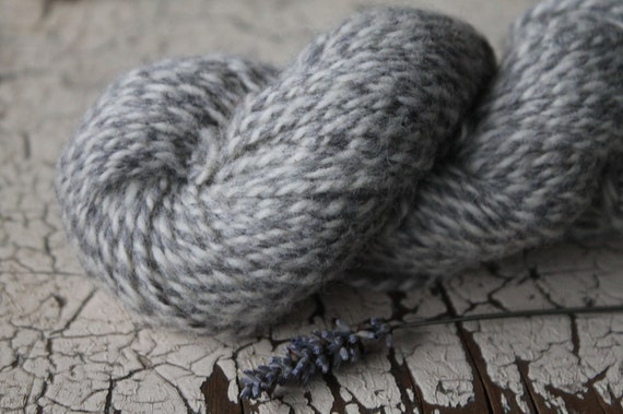 2 ply Marled Natural Grey and White 100% non super wash - DK to Light Worsted - 200 yards 100 grams