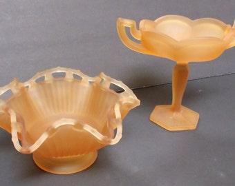 Westmoreland Satin Amber Mist,  2 Vintage Westmoreland Frosted Glass Bowls