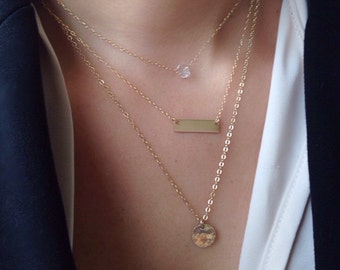 Dainty Bar Necklace, Delicate Gold Layer Necklace Set of 3, Layered Bar Necklace, 14k Gold Filled Necklace