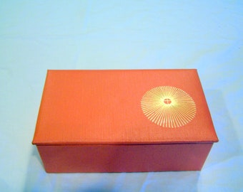 Sunburst vintage orange jewelry/dresser box by Smith Pacific, c. 1960s