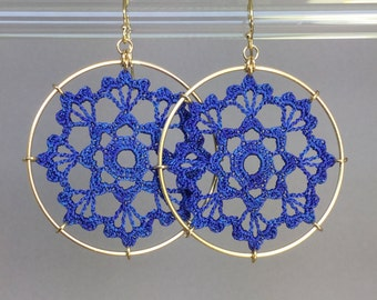 Scallops doily earrings, blue hand-dyed silk thread, 14K gold-filled