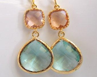 Aqua Earrings, Soft Green Earrings, Peach Earrings, Light Green, Gold, Wedding, Bridesmaid Earrings, Bridal Jewelry, Bridesmaid Gifts