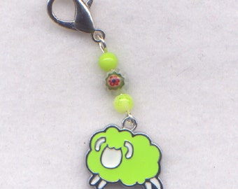 Sheep Stitch Marker Clip Lamb Lucky Shamrock Green Wool Charm Single /SM214