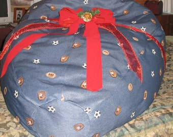 Denim Blue Embroidered Sports Bean Bag Chair Cover - (Made To Order) Denim Bean Bag Chair, Denim Bean Bag Chair Cover, Bean Bag Chair Boys