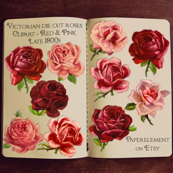 Red Rose Clipart: Rose Clip Art Valentine Rose Antique