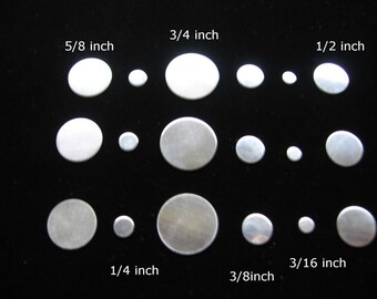 18 Piece Variety Pack Sterling Silver Discs 3/4 5/8 1/2 3/8 1/4 3/16 inch Round 24 ga 22 Gauge Hand Stamping Blank Charm Id Tag Metal Disk