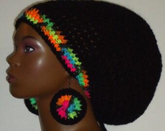 Black Neon Trim Crochet Large Rasta Tam with Drawstring and Earrings Dreadlocks Rasta Tam by Razonda Lee Razondalee