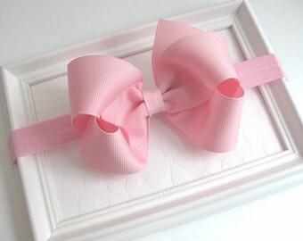 Baby Headband, Pink Bow Headband, Pink Baby Headband, Light Pink Hair Bow, 4 inch Boutique Bow, Newborn Headband, Infant Headband, Baby Bows