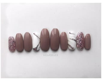 OPULENCE | press on nails | marble nails | stick on nails