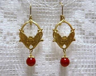 """Red Jade and Brass Floral Dangle Earrings--""""Vivid Blooms"""""""