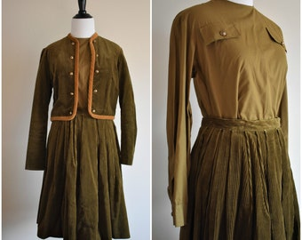 1950's Vintage 3 Piece Olive Green Jacket and Skirt Set | Reid & Reid Sportswear by Faye Robin | Women's Size 0 Small/XS