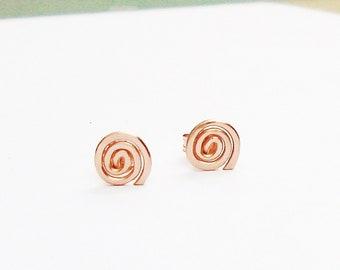 14K Rose Gold Filled-Spiral-Swirl-Minimalis-Stud Earrings / Free US Shipping