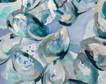 Summer Blues, 8.5x11 Signed Large Print of Original Acrylic Painting in 11x14 mat