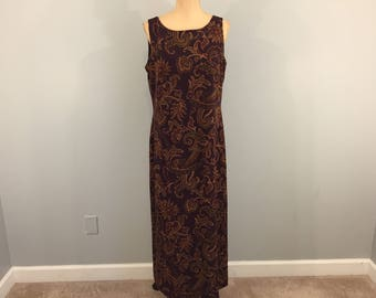 Sleeveless Shift Dress Maxi Dress Summer Paisley Print Dresses Womens Dresses Maroon Olive Green Size 12 Dress Large Dress Womens Clothing