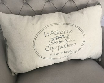 READY TO SHIP Vintage Painted Feedsack Oversized Lumbar Pillow