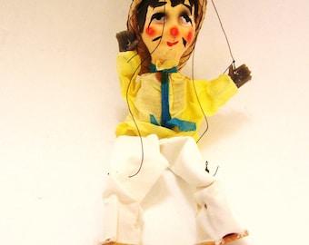 Vintage Cowboy fait-main de marionnette à cordes Pantin