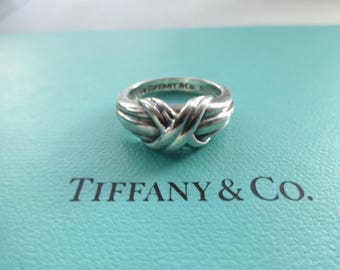 """SALE!! Authentic Tiffany & Co. Sterling Silver Signature """"X"""" Band Ring Size 4"""
