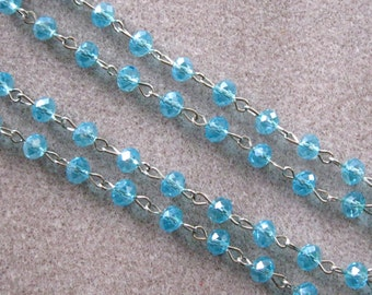 """One Meter 39.5"""" Faceted Caribbean Blue Rondelle Glass 6mm Beaded Rosary Link Chain Silver 970"""