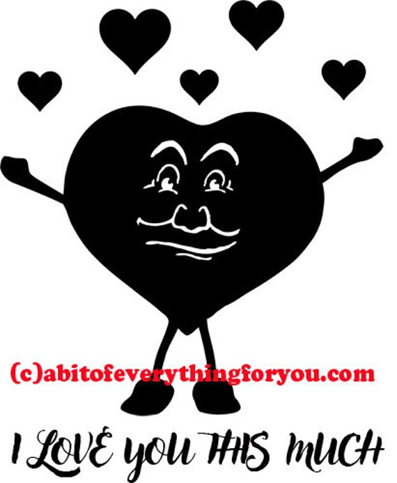 happy cartoon heart guy love romance clip art png printable art digital download image graphics family black and white artwork