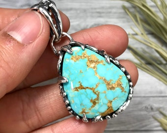 Natural Turquoise Mountain Turquoise Pendant Necklace