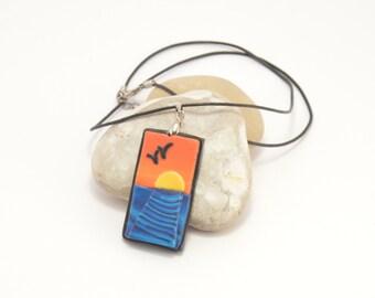 Polymer clay necklace Sea sunset, handmade necklace, art necklace, polymer clay jewelry, art jewelry, polymer clay jewllery, handmade