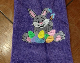 Embroidered Finger Tip Towel  - Easter - Gray Bunny W/Eggs