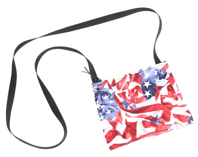 USA Flag fabric mini crossbody bag, perfect for travel or a night out!