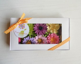 Seeded Paper Flowers and Seed Bombs Unique Gardening Gift Set - Hostess Gift, Teacher Gift, Mother's Day Gift