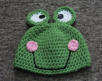 Baby Frog Hat, Crochet Baby Photo Prop,Animal Hat, crochet prop, Baby shower Gift, Whimsey Frog Hat,crochet Frog Hat,Fun Baby Hat,Baby Hat