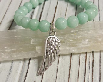 Natural Amazonite Stone Bracelet, Angel Wing Charm, Stackable, Stretch Bracelet, Religious, Natural Stone
