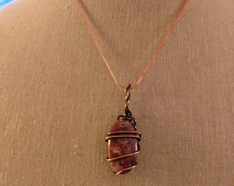 Red jasper copper wire wrapped pendant necklace with copper chain