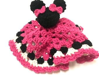 Crochet Lovey, Minnie Mouse, Disney Inspired, Security Blanket, Baby Blanket, Baby Shower Gift, Lovey Blanket, Baby Gift, Baby Girl