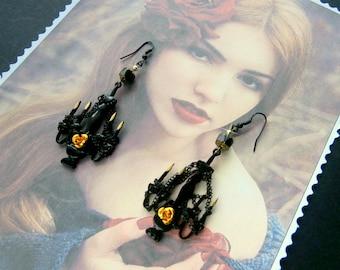 "Gothic earrings black ""chandelier"", for HALLOWEEN"