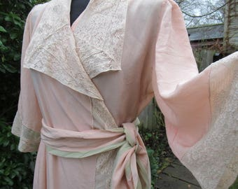Vintage hand made silk robe peignoir negligee pink green long sash 30's dressing gown Boudoir Lingerie