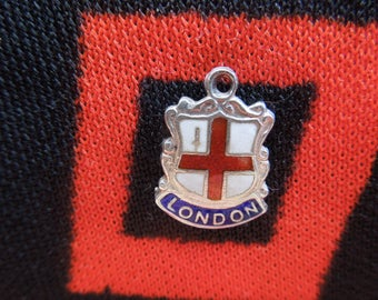 Enamel Sterling London Charm Vintage Enamel London England Travel Shield Silver Charm for Bracelet from Charmhuntress 04738