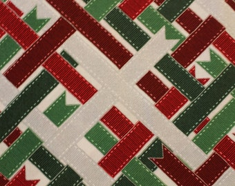Suite Christmas Wribbon Wrap by RJR Quilt Fabric,  Sold by the Half Yard